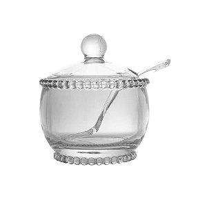 Açucareiro Cristal com Colher Peral Bolinhas