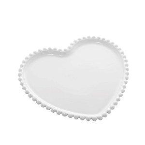 Prato de Coração de Porcelana Beads com Borda de Bolinhas Branca 25cm