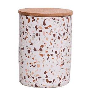 Pote Porcelana Granilite com Tampa de Madeira 15 cm