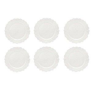 Conjunto de 6 Pratos de Sobremesa em Porcelana Fancy - Wolff