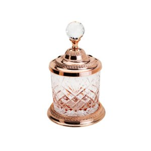 Pote Multiuso de Zamac Cristal Rose Gold Pequeno - Lyor