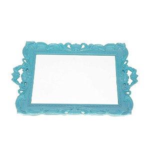 Bandeja com Espelho Marsele Azul Turquesa