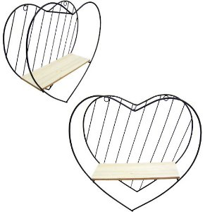 Mini Prateleira Madeira e Metal Coração