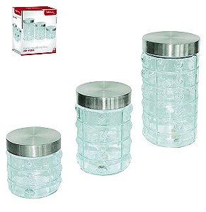 Conjunto de Potes em Vidro com Tampa Prata