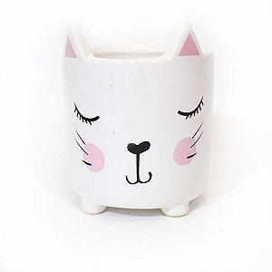 Cachepot Cerâmica Gato Rosa