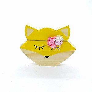 Raposa Decorativa de Madeira Amarela