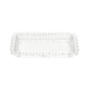 MIni Bandeja Decorativa Borda de Bolinhas Vidro Clear