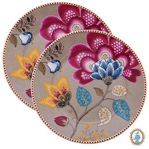 Set/2 Pratos de Pão Cáqui - Floral Fantasy - Pip Studio