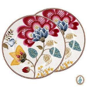 Set/2 Pratos de Pão Branco - Floral Fantasy - Pip Studio