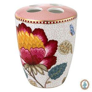 Porta Escova de Dentes Rosa/Branco - Floral Fantasy - Pip Studio