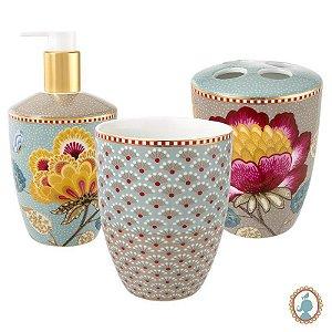 Set/3 Acessórios de Banheiro Azul/Cáqui - Floral Fantasy - Pip Studio