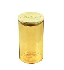 Pote de Vidro Coffee Clear Ambar Com Tampa de Madeira
