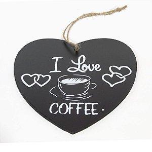 Placa Café Coração de Madeira
