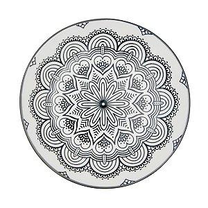 Prato Porcelana Decor Symmetric Mandala Preto e Branco 20,4 cm