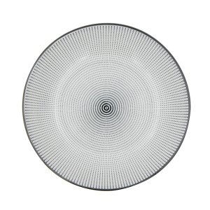 Prato Porcelana Decor Dot Angles Preto e Branco 20,4 cm