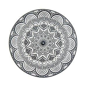 Prato Porcelana Decor Symmetric Mandala Preto e Branco 18,4 cm