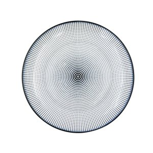 Prato Porcelana Decor Dot Angles Preto e Branco 19,5 cm
