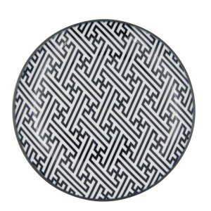 Prato Porcelana Decor Greek Key Preto e Branco 19,5 cm