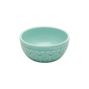 Bowl de Cerâmica Decor Embossed Heart and Flowers Verde