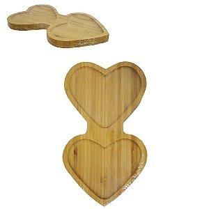 Petisqueira de Bambu Coração Duplo