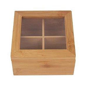 Caixa de Chá Quadrada em Bambu Yoi