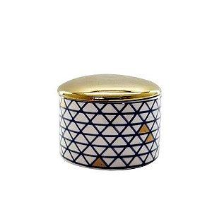 Porta Jóia Cerâmica Azul e Dourado