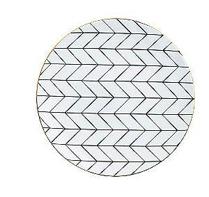 Prato Cerâmica Decorativo Preto e Branco 15 cm