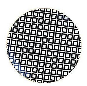 Prato Cerâmica Decorativo Quadrados Preto e Branco 22 cm