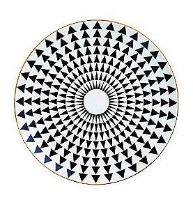 Prato Cerâmica Decorativo Triâgulos Preto e Branco 22 cm