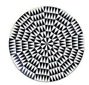 Prato Cerâmica Decorativo Preto e Branco 26 cm