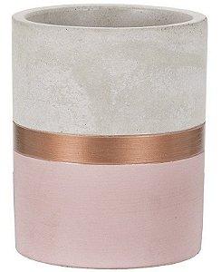 Vaso Cimento Cobre e Rosa 13 cm