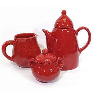 Jogo para Café de Cerâmica Vermelho