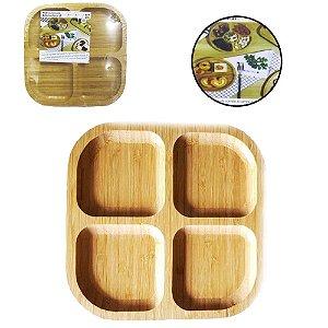 Petisqueira 4 Divisórias Quadrada 20 cm - Bambu