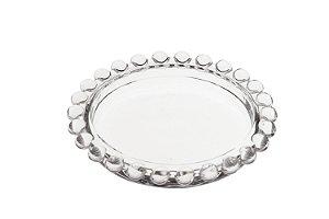 Mini Prato Decorativo Borda de Bolinhas Vidro Clear 10cm