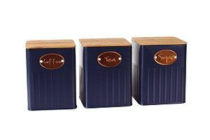 Conjunto de 03 Latas Mantimentos Azul Marinho com Tampa de Madeira