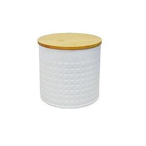 Lata Branca com Tampa de Bambu