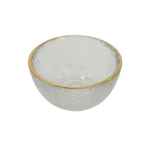 Mini Bowl Decorativo Transparente e Dourado