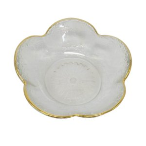 Mini Bowl Decorativo Flower Transparente e Dourado