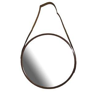 Espelho Escandinavo de Plástico Marrom 45cm