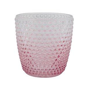 Castiçal de Vidro Degrade Dots Rosa