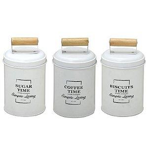 Conjunto de 03 Latas Mantimentos Branca com Puxador de Madeira