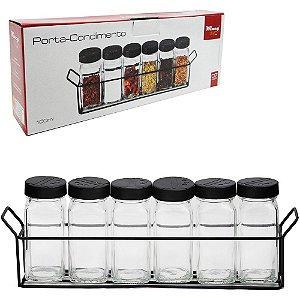 Conjunto de 6 Peças de  Porta Condimentos Black