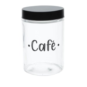 Pote de Vidro com Tampa Café
