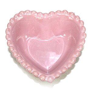 Travessa de Coração Rosa Com Borda de Bolinha 500ml