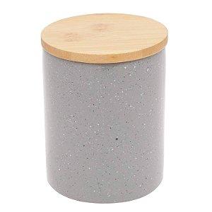 Pote Porcelana Granilite com Tampa de Madeira 13cm