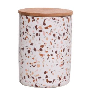Pote Porcelana Granilite Branco com Tampa de Madeira 18 cm