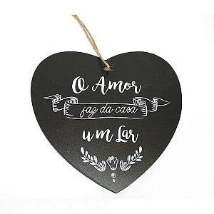 Placa Lar Coração de Madeira