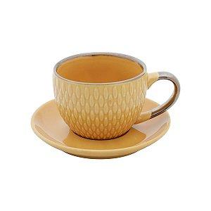 Conjunto de 4  Xícaras de Porcelana Para Café Amarelo
