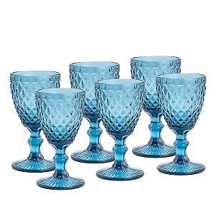 Jogo de 6 Taças Água Bico de Abacaxi Azul