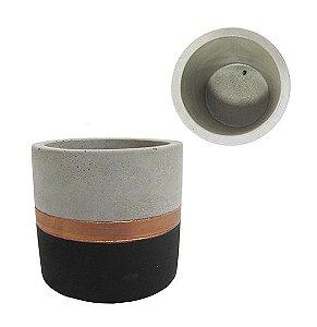 Vaso Cimento Cobre e Preto 8 cm
